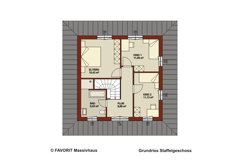 ambiente 145 staffelgeschoss grundriss bauunternehmer schob. Black Bedroom Furniture Sets. Home Design Ideas