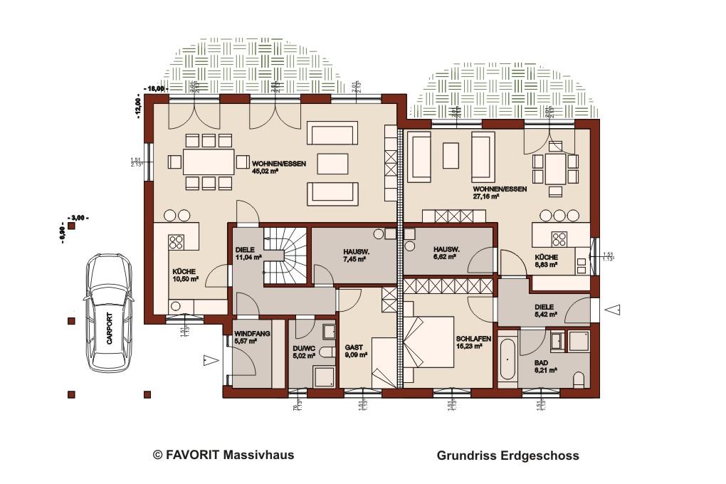 Premium 165 71 erdgeschoss grundriss 1020x680pxl for Grundrisse zweifamilienhaus stadtvilla