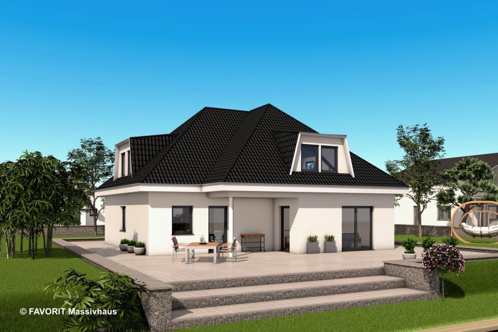 Premium 88 87 zwei familien im bungalow bauunternehmer for Zweifamilien bungalow grundriss
