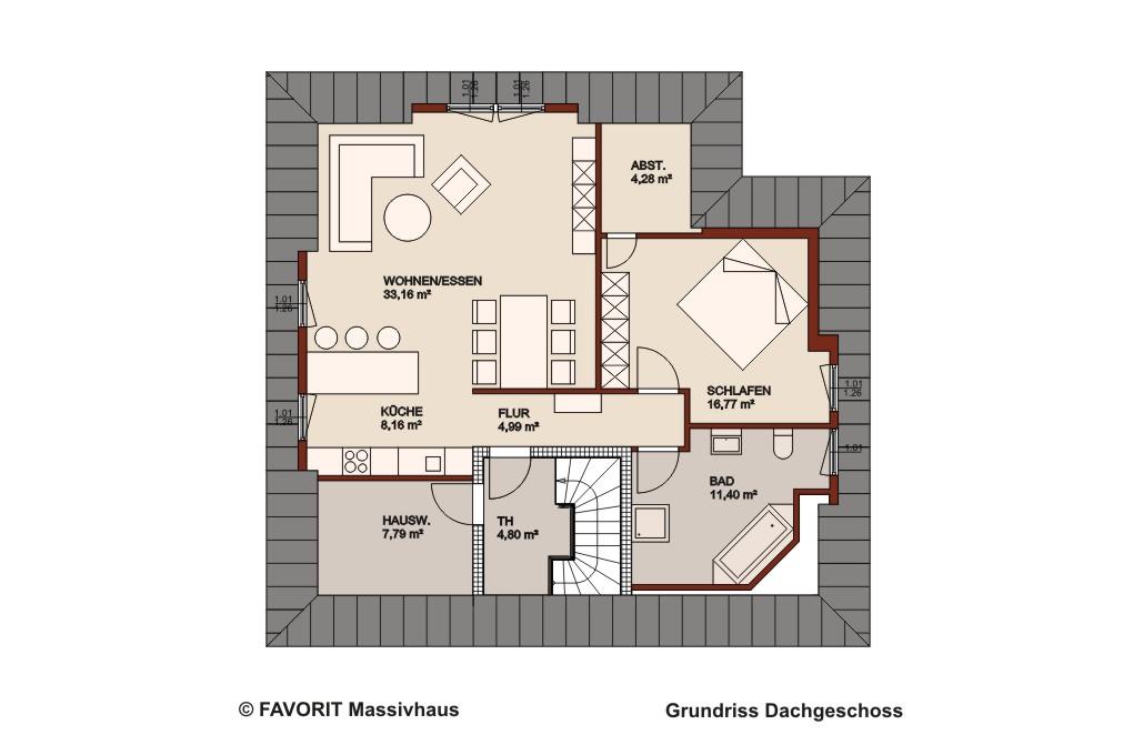 Premium 88 87 dachgeschoss grundriss 1020x680pxl for Zweifamilien bungalow grundriss
