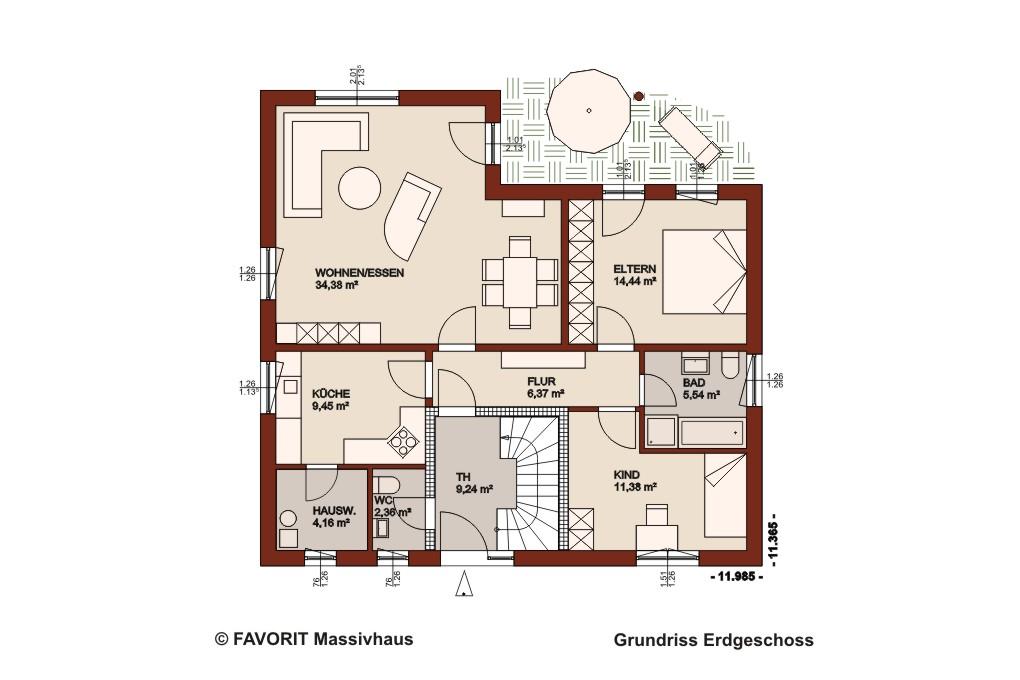 Premium 88 87 erdgeschoss grundriss 1020x680pxl for Zweifamilien bungalow grundriss